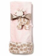 Nat & Jules Sadie Giraffe Baby Blanket and Rattle Set - Pink
