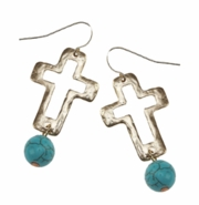 Earrings - Open Cross Gold with Turquoise Bead