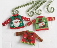 Raz Imports Ugly Sweater Christmas Ornaments - Set of 3
