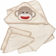 Sock Monkey Hooded Towel and Two Washcloths
