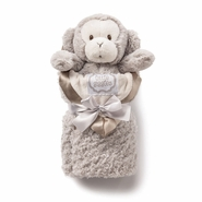 Kathy Ireland Taupe Plush Monkey & Baby Blanket Set