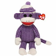 TY Beanie Babies Purple Quilted Sock Monkey