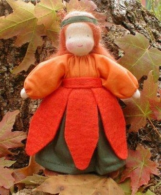 "Evi Doll <br>Pumpkin Girl <br>5.5"" Waldorf Doll"