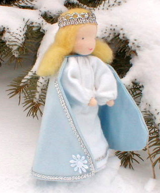 "Evi Doll <br>Snow Queen <br>5.5"" Waldorf Doll"