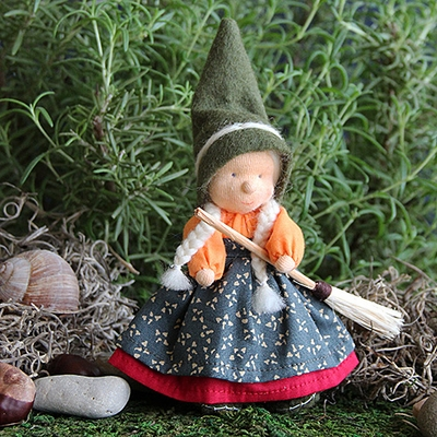 "Evi Doll <br> Little Witch Green <br>6"" Waldorf Doll"