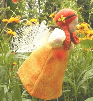 "Evi Doll <br>Yellow Flower Fairy <br>6"" Waldorf Doll"