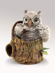 Folkmanis Puppet <br>Owlet in Tree Stump