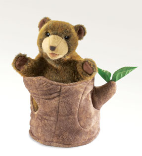 Folkmanis Puppet <br>Bear in Tree Stump