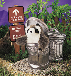 Folkmanis Puppet <br>Raccoon in <br>Garbage Can