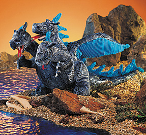 Folkmanis Puppet <br>Three-Headed <br>Blue Dragon