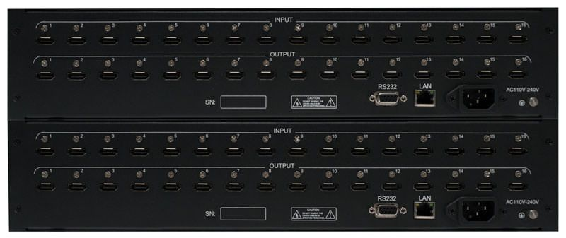 WolfPack 16x32 TRUE HDMI Matrix Router - Front Panel Manual Control Only