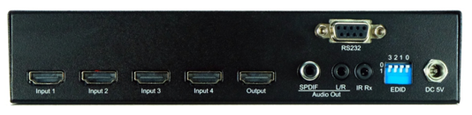 WolfPack 4K 4x1 HDMI Switch w/Coax & Stereo Audio Outs & EDID