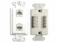 Channel Plus WPDDIY Dual Data Wallplate 2 CAT5e RJ-45 connectors-Ivory