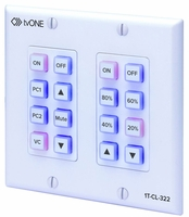 tvONE 1T-CL-322-US North American 2-Gang Wall-plate Control Panel