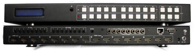 WolfPack 4K 8x8 HDMI Matrix Switch with 8-Coax Audio Outs