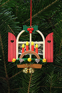 Advent window with candle arch christmas tree ornament for Arch candle christmas decoration