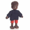 African Boy Wearing Blue Shirt With Red Shorts Doll - Annedore Krebs