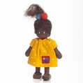 African School Girl in Dress Dollhouse Doll - Annedore Krebs