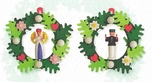 Angel And Miner In Wreath Tree Ornaments (Set of 2) - Graupner Holzminiaturen