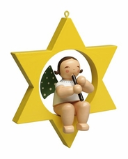Angel Playing Recorder in Star Tree Ornament (New in 2017) - Wendt & Kühn