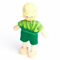 Blonde Boy Wearing Green Shorts and Shirt Doll - Annedore Krebs