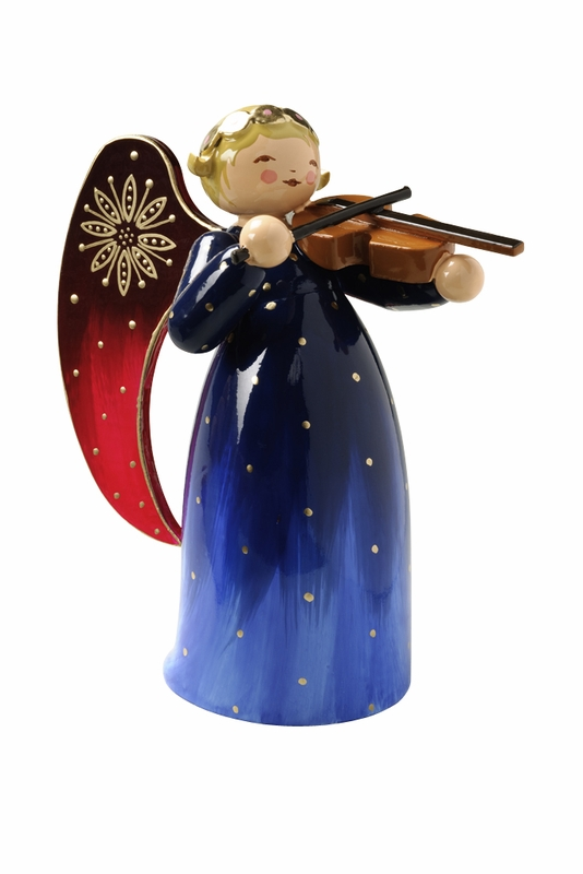 handcrafted german gifts wendt kuhn blue and red angel playing violin. Black Bedroom Furniture Sets. Home Design Ideas