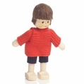 Boy Wearing Red Shirt With Blue Shorts Doll - Annedore Krebs