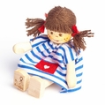 Brown Hair Pig Tailed Girl Wearing Summer Dress Doll - Annedore Krebs