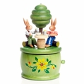 Easter Bunny Couple At Table Under Tree Music Box - Zeidler Holzkunst