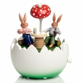 Easter Bunny Couple Under Sun Umbrella Music Box - Zeidler Holzkunst