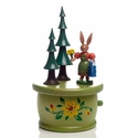 Easter Bunny Lady With Watering Can Music Box - Zeidler Holzkunst