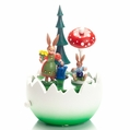 Easter Bunny Mom and Child Under Sun Umbrella Music Box - Zeidler Holzkunst