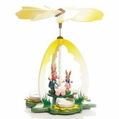 Easter Bunny Mom With Children Pyramid (3 Tealights) - Zeidler Holzkunst