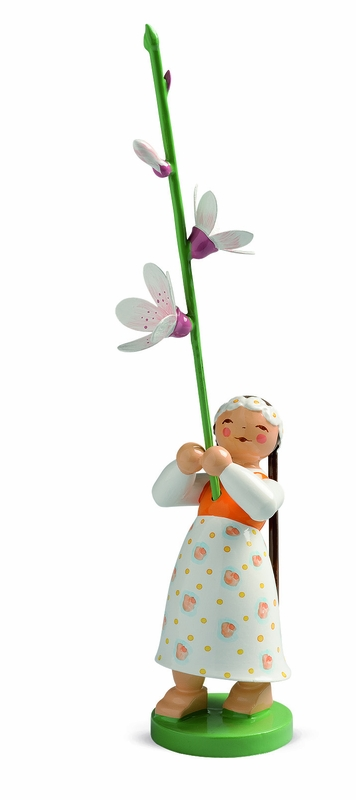 Handcrafted German Gifts Girl Holding Cherry Blossom