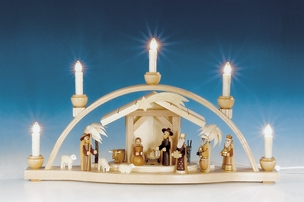 Nativity Scene Schwibbogen (5 Electric Candles) - Knuth Neuber
