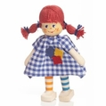 Red Headed School Girl Wearing Checkered Dress Doll - Annedore Krebs