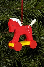Red Toy Horse Christmas Tree Ornament - Christian Ulbricht GmbH & Co