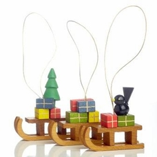 Sled With Gifts Christmas Tree Ornaments - Dregeno Seiffen