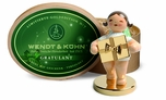 Well Wisher Angel Holding Gold Plated Gift On Gold Plated Stand (New in 2014) - Wendt & Kühn