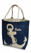 Beach Jute Tote with Anchor | Embroidered