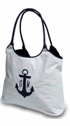 Beach Tote with Anchor | Embroidered