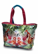 Canvas Flamingo Beach Tote | Personalized