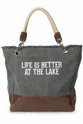 Canvas Weekender Lake Tote Bag | Monogram