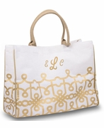 Cotton Jute Pattern Tote Bag  | Personalized