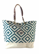 Diamond Pattern Canvas Tote Bag | Monogram