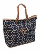 Eco-Friendly Jute Tote | Monogram | Lattice Pattern