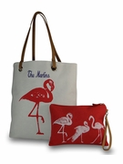 Embroidered Flamingo Beach Tote with Accessory Bag