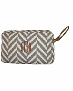 Embroidered Herringbone Accessory Bag | Monogram