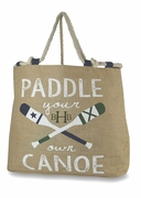 Embroidered Jute Burlap Tote Bag  - Canoe