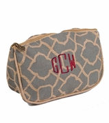 Embroidered Jute Cosmetic Bag | Monogrammed